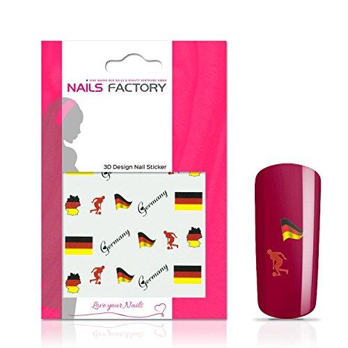 N&BF Nail Art Nagelsticker Fußball | Soccer Nagelaufkleber Germany 2/ Deutschland | Deutsche Flaggen Sticker für Kunstnägel und Naturnägel | 3D Nageltattoos für WM & EM | Länder Fahnen Transfersticker