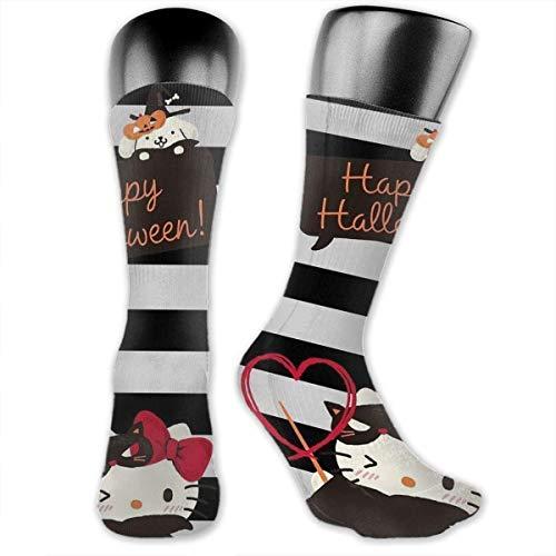 Calcetines de compresión para Halloween, de Hello Kitty, calcetines de fútbol, calcetines altos, calcetines largos para deportes al aire libre para hombres y mujeres