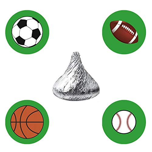 MAGJUCHE Sports Candy Stickers, Kids All Sports Themed Birthday Party Favor Labels, Fit Hershey's Kisses, 304 Count