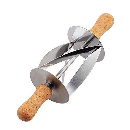 Roestvrij stalen taartbrood roldeegsnijder voor het maken van croissant met houten handvat rollend mes keuken bakgereedschap, 20 x 6 x 6cm