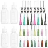 30ml Multi Propósito DIY Precisión Punta de Aguja Aplicador Botellas Aplicador de Pegamento, Botella de Aceite, cuentagotas de dispensador para DIY Quilling, 4 botellas + 32 bocas