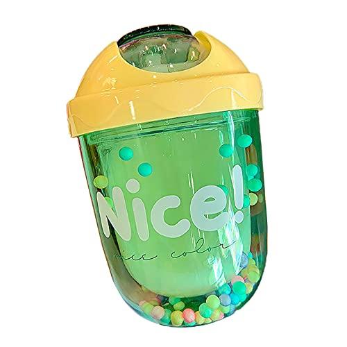 Hislaves Taza de agua pequeña de 300 ml con tapa de gran capacidad, a prueba de fugas, regalo de cumpleaños para niñas, color verde 300 ml