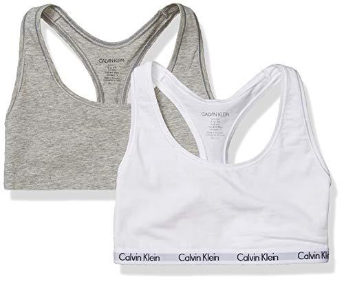 Calvin Klein Women's Carousel Logo Bralette, grey heater/White, S