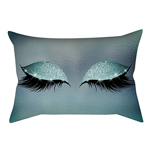 Felicove Wimpern heraus Print Kopfkissen - Kissenbezug aus weichem Samt - 30x50 cm Marmorkissenbezüge - 16 Farben Zierkissenbezüge
