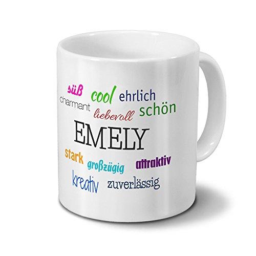 printplanet Tasse mit Namen Emely - Positive Eigenschaften von Emely - Namenstasse, Kaffeebecher, Mug, Becher, Kaffeetasse - Farbe Weiß