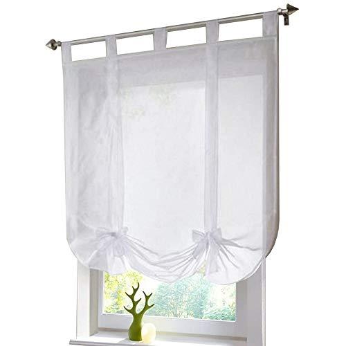 ESLIR Raffrollo mit Schlaufen Raffgardinen Voile Gardinen Küche Bindegardine Transparent Schlaufenrollo Vorhänge Modern Weiß BxH 140x140cm 1 Stück