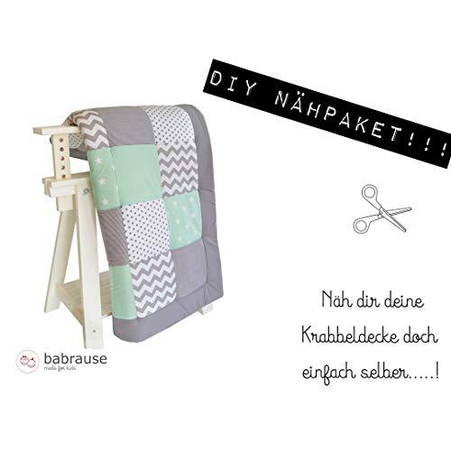 babrause DIY Krabbeldecke Nähpaket Mint Chevron