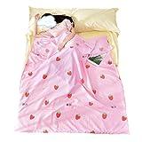 Saco de Dormir de Algodón Ideal para Hotel y Escalada Excursiones de Senderismo los Viajes Camping al Aire Libre Fácil de Llevar Forro de Saco de Dormir Estampado Flamenco (Fresa rosa, 160*230cm)