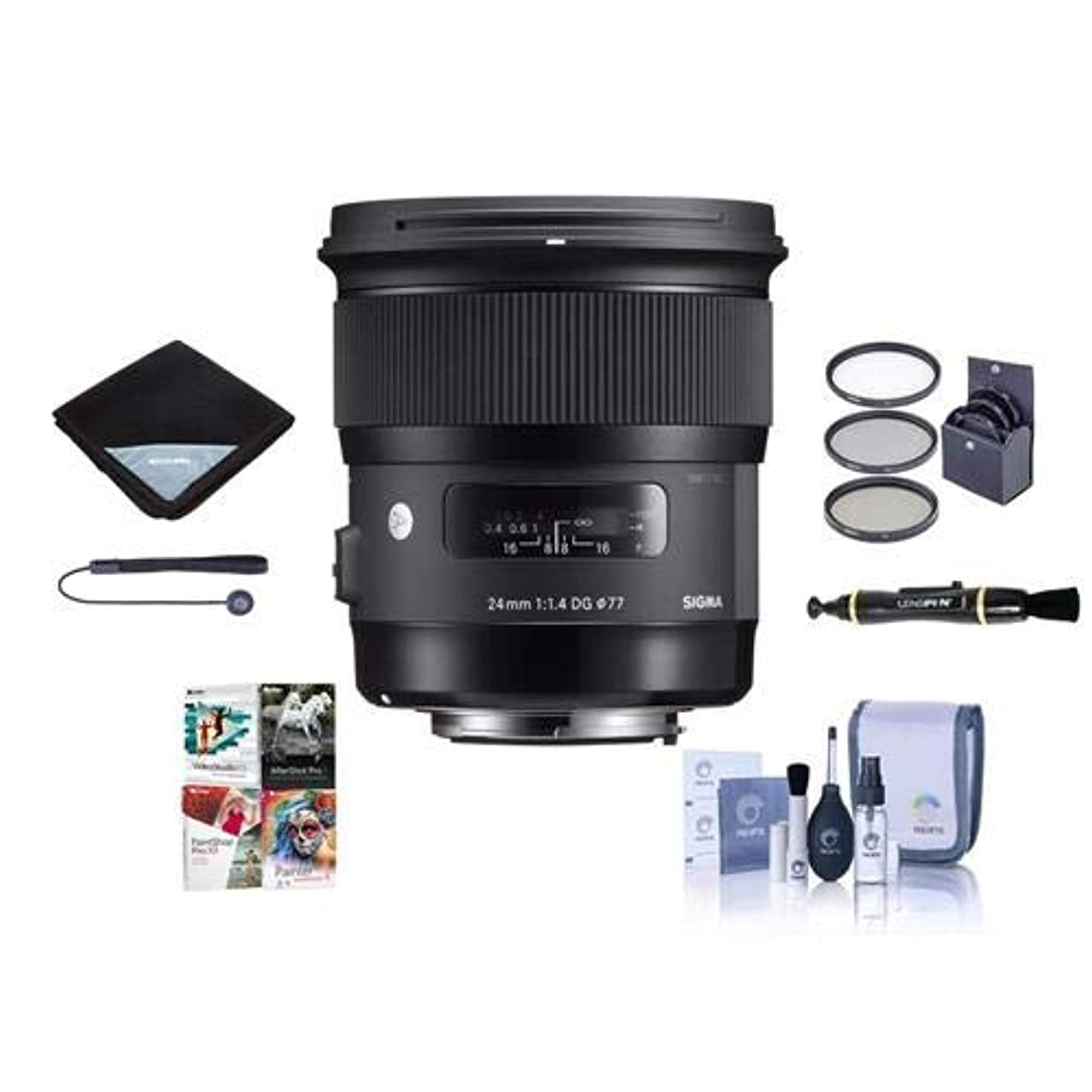 Sigma 24mm f/1.4 DG HSM Art Lens for Sony E-Mount Cameras, Black - Bundle with 77mm Filter Kit, Lens Wrap, Cleaning Kit, Capleash, Lenspen Lens Cleaner, PC Software Package nfelygjmwimnl861