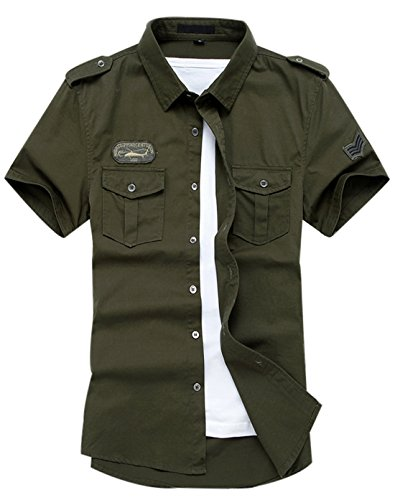 Gihuo Men's Casual Short Sleeve Military Style Button Down Cargo Shirt with Shoulder Straps (Large, Army Green)