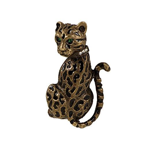 Broche de mujer leopardo esmalte, estráso, pintado a mano para chaqueta bufanda...