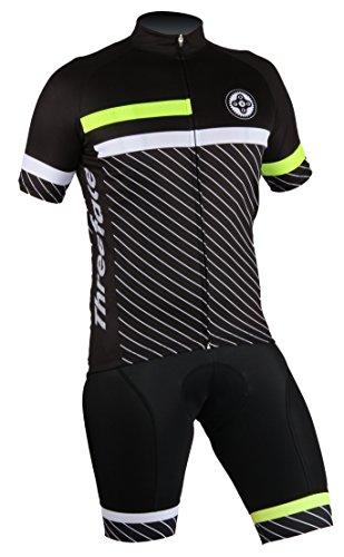 Threeface Completo Estivo Ciclismo Cranck Maglia Traspirante Salopette con Imbottitura (L)