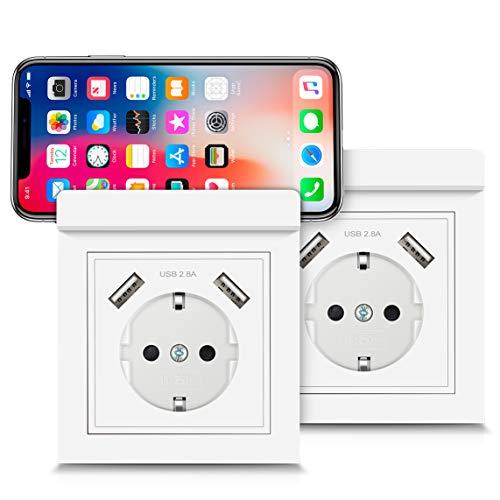 USB Enchufes con Soporte para Teléfono, Kaifire Toma de Corriente Zócalo pared Schuko Flush Mount con 2 Puertos USB 2.8A - Cargador de Smartphone Tableta (paquete de 2)