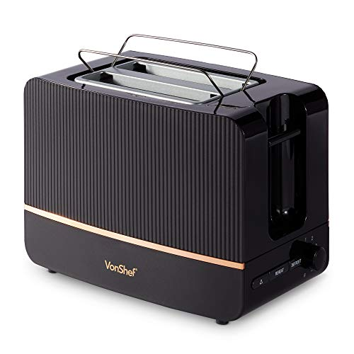VonShef Black & Copper Toaster - 2 Slice Toaster with Browning Control, Removable Crumb Tray & Defrost Function - 870W