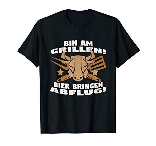 Herren Bin am Grillen, Bier bringen, Abflug! Stierkopf Grillzeug T-Shirt