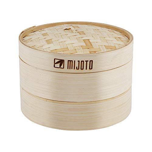 MIJOTO Bambus Dämpfkorb – Dämpfeinsatz für Dim Sum, Dumplings, Gemüse & Fisch - Traditioneller Bambusdämper für die Asiatische Küche