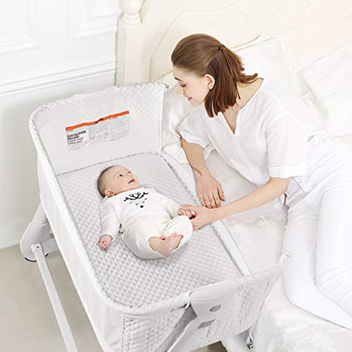 BABY JOY Baby Bassinet, Bedside Sleeper w/Wheels, Mattress & Cover, Straps, Mesh, 100lbs Weight Capacity, 8 Height Adjustable for Bed Sofa, Lightweight Bedside Bassinet for Baby Newborn Infant, White