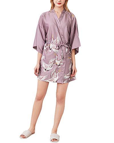 Kimono Mujer Batas Estampado Floral Vestido Ropa de Dormir 3/4 Manga con Cinturón Pijama Albornoz Pink M