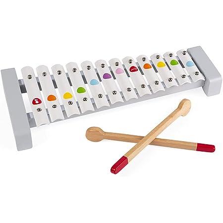 Janod - Xylo métal en Bois Confetti - Instrument de Musique Enfant - Jouet d'Imitation et d'Éveil Musical - Dès 2 Ans, J07604