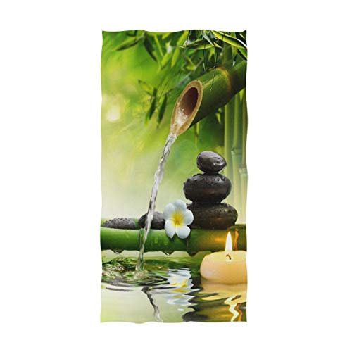 Naanle 3D Spa Style Bamboo and Stones on Water Print Soft Guest Hand Towels for Bathroom, Hotel, Gym and Spa (16 x 30 Inches)