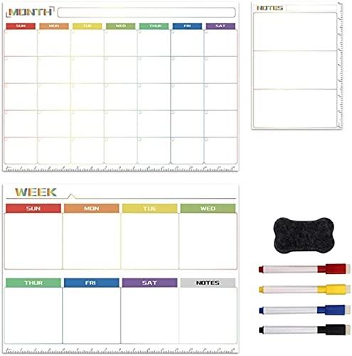 Kit de pizarra magnética Diario semanal planificación mensual planificador de familia Notas de la etiqueta engomada del refrigerador, tablero de borrado en seco magnético pequeño tablero de borrado se