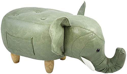 LYQQQQ Dibujos Animados Elefante Escabel, imitación de Piel de los niños Juguetes Sofá heces Cambio Banco de Zapatos, Sala de Estar Dormitorio la decoración del hogar (Color : Green)
