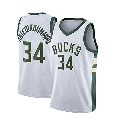GFQTTY Jerseys para Hombres Y Mujeres, Milwaukee Bucks # 34 Camisetas De Baloncesto Chaleco Ligero De Malla Sin Mangas Bordado, Camisetas Deportivas De Ocio