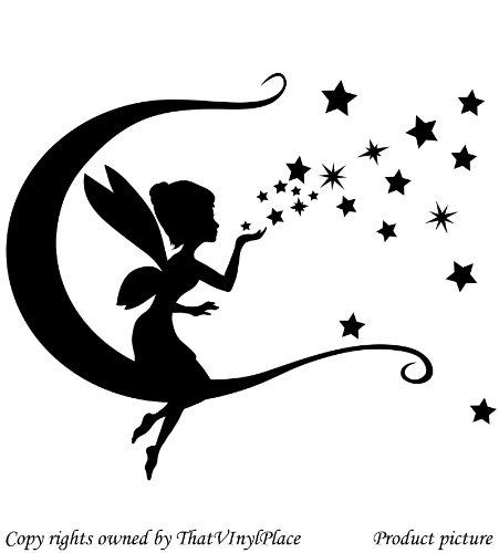 Fata con luna, stelle e altalene Wall Sticker 30cm x 28cm colore nero Fairy, Sprite, peri, Fay, camera da letto, camera dei bambini adesivi, vinile auto, finestre e autoadesivo della parete, muro di finestre Art, decalcomanie, ornamento vinile Thatvinylplace