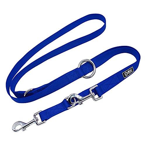 DDOXX Correa Perro de Nailon, Ajustable en 3 Direcciones, 2 m   Correas para Perros Grandes y Pequeños   Correa Doble para Perros, Gatos, Cachorros   Correa para Correr   Azul, S