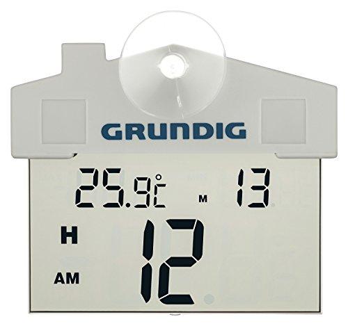 Grundig digitale buitenthermometer met zuignap | transparante waterdichte digitale thermometer | batterijvoeding | montage vensterbuitenkant | Tijd- en datumweergave | weerstation | 11x9cm