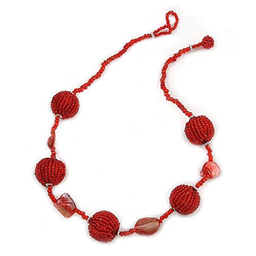 Avalaya - Collar con Colgante de Bola de Cristal y Concha de mar, 47 cm de Largo, Color Rojo