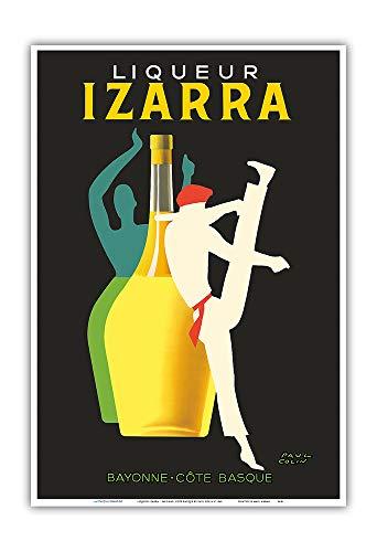 Pacifica Island Art - Licor Izarra - Bayona, País Vasco - Bailarina Gerriko - Póster publicitario de Paul Colin c.1948 - Impresión de Arte - 33 x 48 cm