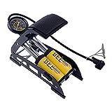 RONTENO Aluminum Twin Foot Pump 160PSI High Pressure Floor Air Foot Pump for Cycle, Bike, Car, Football etc. - 1 Pc (Yellow Color)