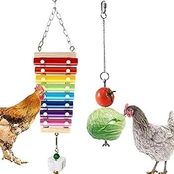 Ryoizen Jouets pour Oiseaux Jouet de Xylophone Poule en Bois 8 Touches Métalliques Suspensibles pour Poules Oiseau de Poulet de Compagnie Perroquet Jouet sonore Jouet