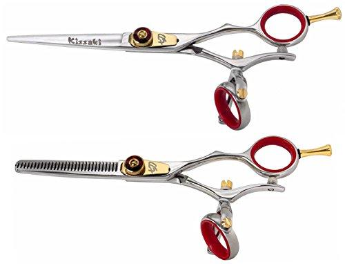 Kissaki Hair Scissors Gokatana 6.0 inches Silver R Hair Cutting Shears and Kanagawa 30 tooth Silver R Thinning Shears Double Swivel Matching Set Combo