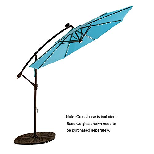 C-Hopetree 10 ft Offset Cantilever Outdoor Patio Umbrella with Solar LED Lights – Aqua Blue