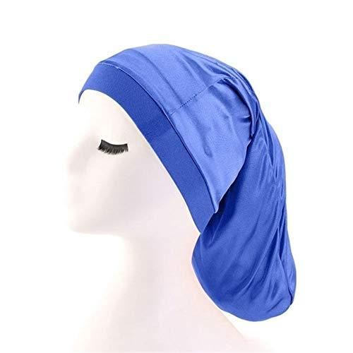 QHKS Bonnet de Nuit Cheveux Longs Sock Cap Sommeil Chapeaux Wrap Bonnet de Nuit Soins des Cheveux Bonnet Bonnet Cap Nightcap Femmes Baggy Turban Soins des Cheveux Chapeau Foulard (Color : Bleu)