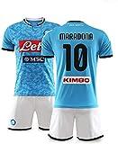 YTTde Naples N ° 10 Maradona Jersey Suit, Champion De La Coupe du Monde Édition Commémorative King Set pour Football, Cadeau, Fans, avec Collier 1PCS,XXL