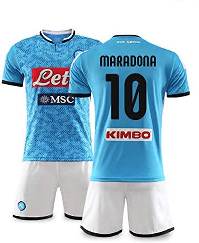 YTTde Naples No. 10 Maradona Jersey Suit, World Cup Champion Conmemorative Edition King Set para Fútbol, Regalo, Fanáticos, con 1 Collar.