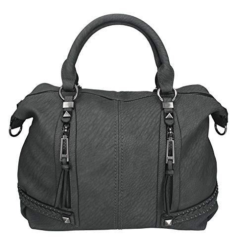 Damen Handtasche Milano 3 Henkeltasche Umhängetasche mit Reißverschluss, Schulterriemen und Zwei Henkeln Farbe grau