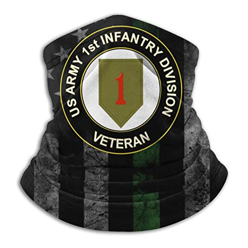 US Army Veteran 1st Infantry Division Neck Gaiter Face Mask Reusable Cloth Face Masks Washable Bandana Face Mask Sun Dust Protection Cover Balaclavas Headwear Shield and Beanie