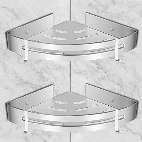 GOLDGE 2 Pezzi Mensola Doccia per Bagno Mensole da Muro Senza Foratura - Mensole ad Angolo con 4 Ganci - Porta Shampoo Sapone per Doccia - Alluminio Portaoggetti Doccia (Triangolo)
