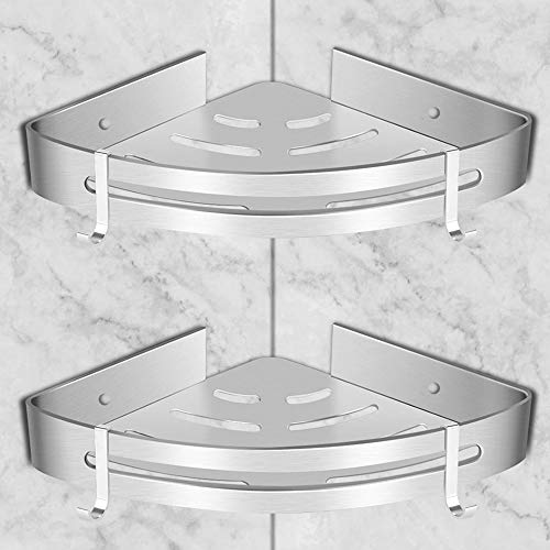 GOLDGE 2 Pezzi Mensola Doccia per Bagno Mensole da Muro Senza Foratura - Mensole ad Angolo con 4 Ganci - Porta Shampoo Sapone per Doccia - Alluminio P