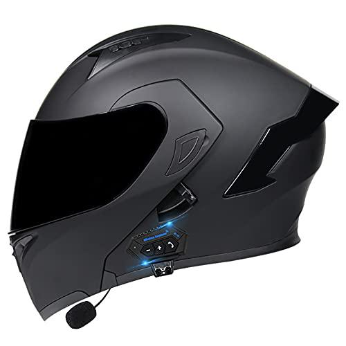 Casco de Moto Modular Bluetooth Integrado con Doble Anti Niebla Visera Cascos de Motocicleta ECE Homologado Prueba de Viento para Adultos Hombres Mujeres 55~60cm