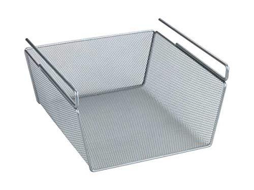 WENKO Regaleinhängekorb M - Aufbewahrungs-Korb für Schränke, Metall, 27.5 x 15 x 28 cm, Silber