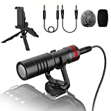 Professional Smartphone Camera Video Microphone with Shock Mount,Tripod Set, Phone clamp kit for iPhone, Android Smartphones, Canon EOS, Nikon DSLR Cameras and Camcorders