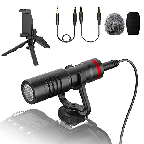 Microphone Camera Video with Shock Mount, Tripod Set, Phone Clamp Kit for iPhone, Android Smartphones, Canon EOS, Nikon DSLR Cameras and Camcorders