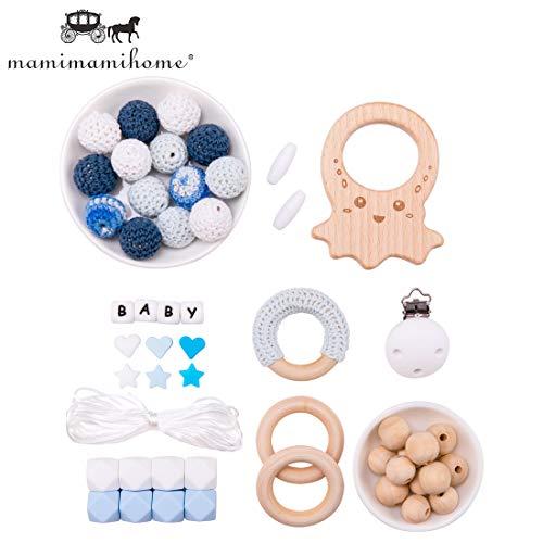 Mamimami Home DIY Baby Zahnen Spielzeug Silikon Krankenpflege Halskette Häkelnde Perlen Armband Holzring Tintenfisch Schnuller Clips Sechskantperlen