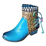 YWLINK Botas Retro De Mujer Botas Cortas éTnicas Bohemia Botines De Cuero ImpresióN Botas De Moto Vintage Zapatos Con Cremallera Lateral Cabeza Redonda Botines 2021 Nuevo (Azul, 37)