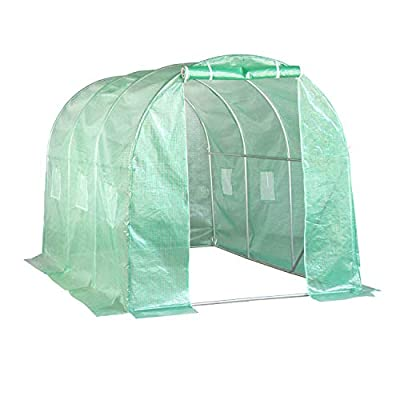 Aoxun 10'x7'x7' Large Walk-in Garden Greenhouse, Hot House Portable for Plants Outdoor in Winter with 6 Roll-Up Windows, Tunnel Greenhouse, Green
